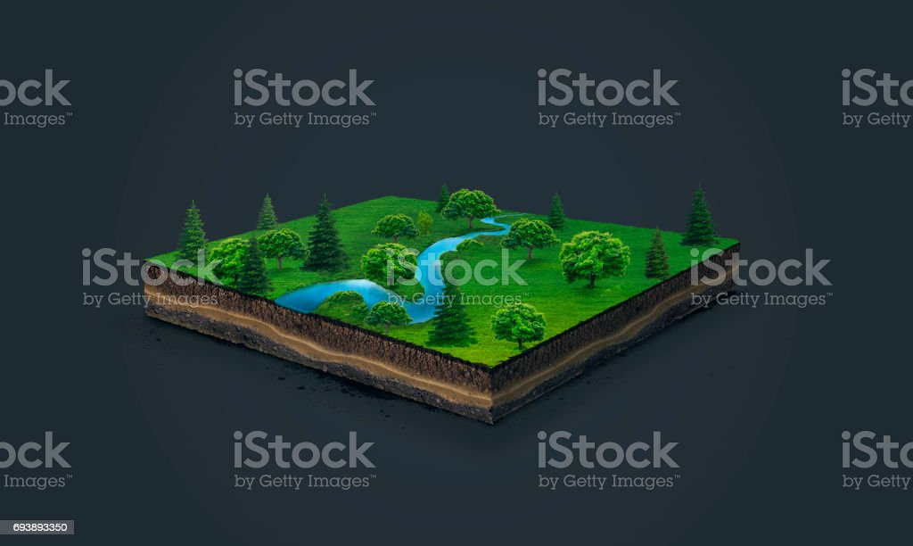 3d illustration of a soil slice, blue river, green meadow with trees isolated on dark background stock photo