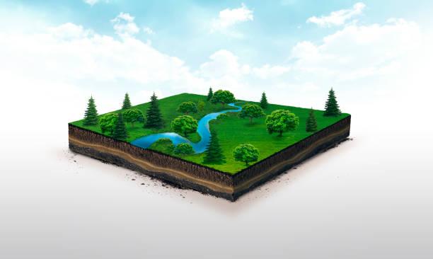 ilustración 3d de un prado de río verde rebanada, azul de tierra con árboles aislados sobre fondo blanco - pedazos de tierra fotografías e imágenes de stock
