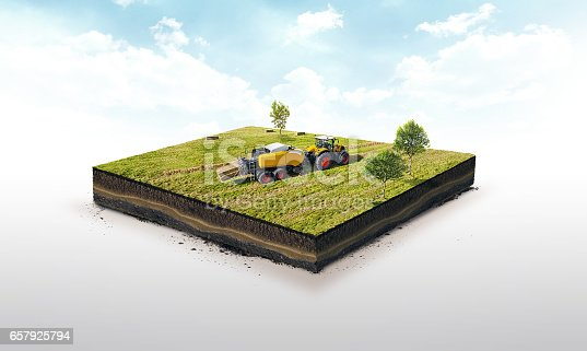 istock 3d illustration of a soil slice, Collection of straw by a combine harvester in bales isolated on white background 657925794
