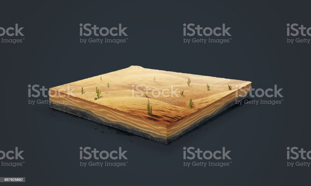 3d illustration of a soil slice, Desert with cacti, sand, dune isolated on dark background stock photo