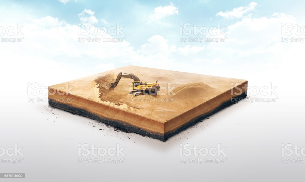 3d illustration of a soil slice, excavation work on Sand quarry isolated on white background stock photo