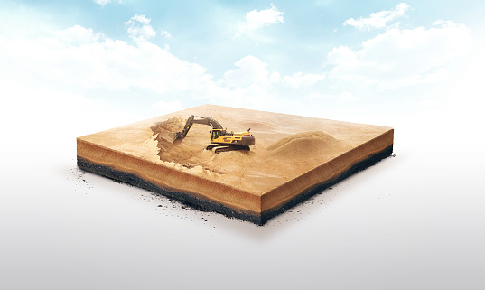 3d Illustration Of A Soil Slice Excavation Work On Sand Quarry Isolated On White Background Stock Photo - Download Image Now