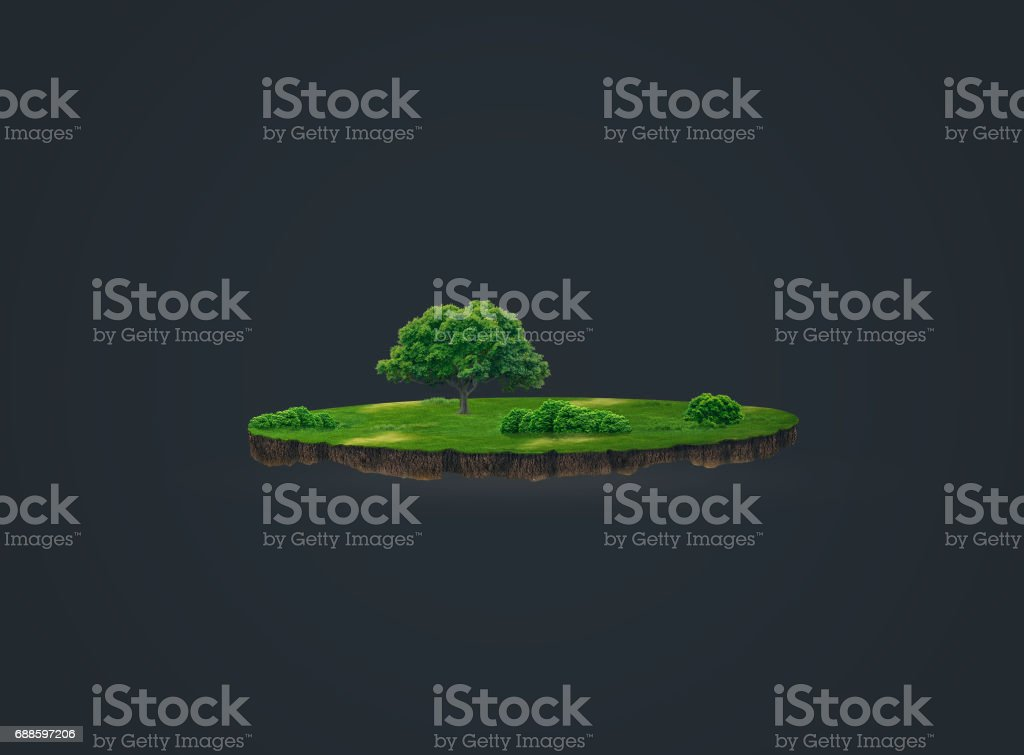 3d illustration of a soil slice, green meadow with trees isolated on dark background stock photo