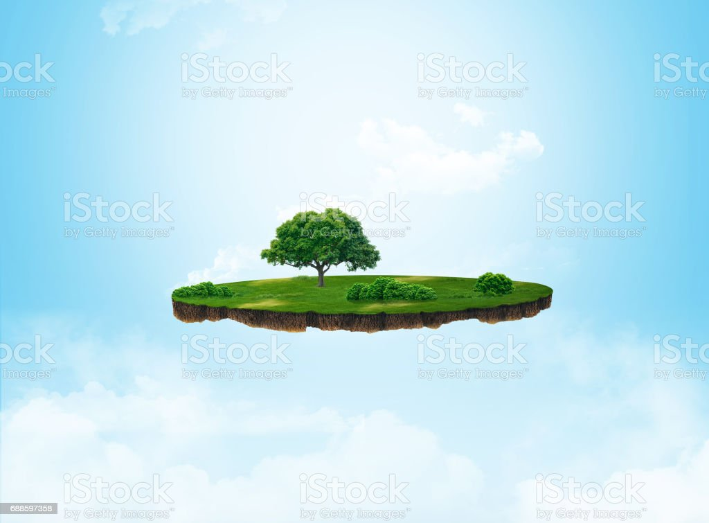 3d illustration of a soil slice, green meadow with trees isolated on light background stock photo