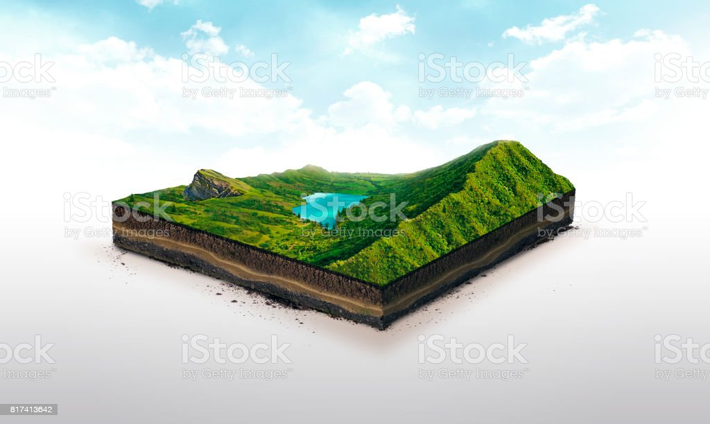 3d illustration of a soil slice, green mountains with lake isolated on white background - Royalty-free Art Stock Photo