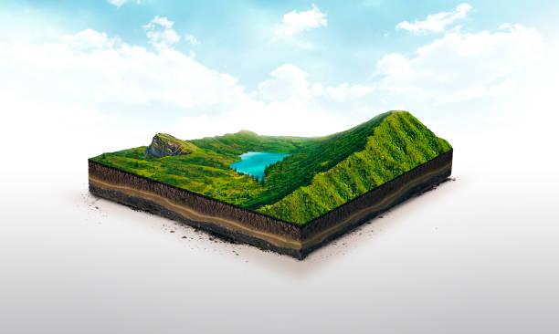 3d illustration of a soil slice, green mountains with lake isolated on white background - land stock photos and pictures