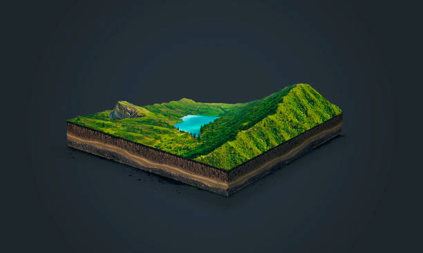 3d illustration of a soil slice, green mountains with lake isolated on dark background stock photo