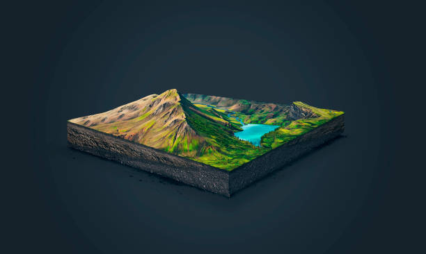 3d illustration of a soil slice, high mountains with lake isolated on dark background stock photo