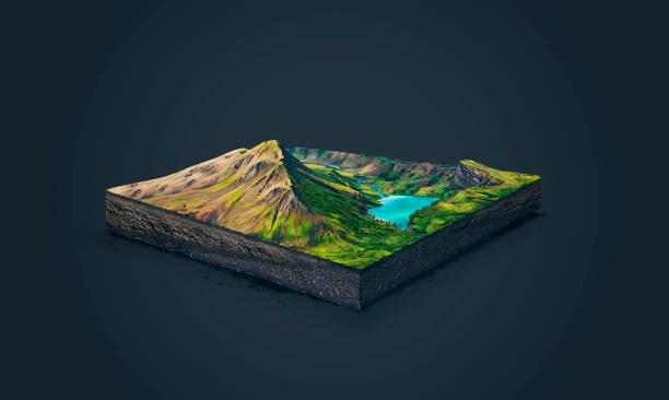3D ilustración de una montañas de rebanada, alto de suelo con lago aislado sobre fondo oscuro - foto de stock