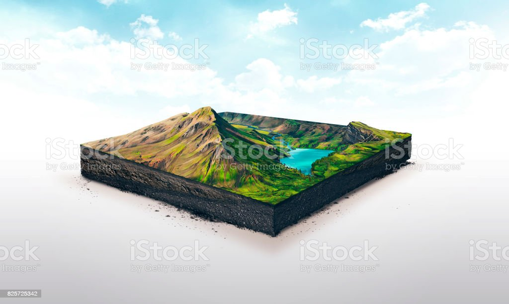 3d illustration of a soil slice, high mountains with lake isolated on white background royalty-free stock photo