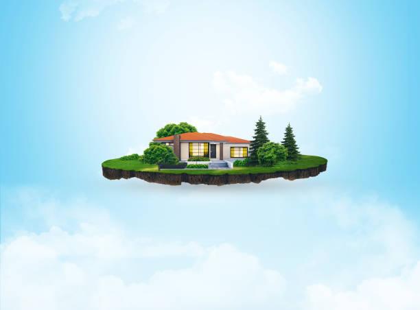 3d ilustración de una porción de suelo, casa en una verde pradera con árboles aislados sobre fondo de cielo - pedazos de tierra fotografías e imágenes de stock