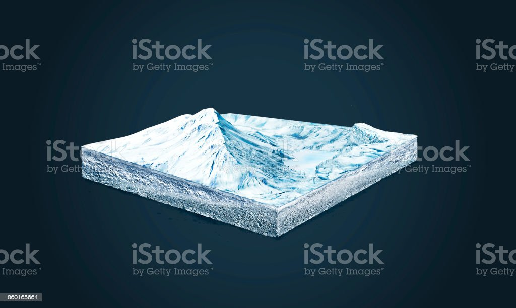 3d illustration of a soil slice, winter nature, snow mountains isolated on dark background stock photo