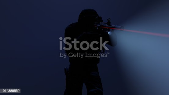 istock 3d illustration of a swat officer in action with the flashlight and laser sight on 914388552