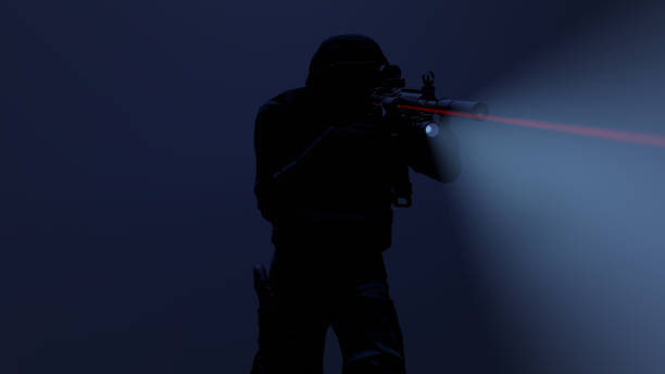3d illustration of a swat officer in action with the flashlight and laser sight on 3d illustration of a swat officer in action with the flashlight and laser sight on counter terrorism stock pictures, royalty-free photos & images