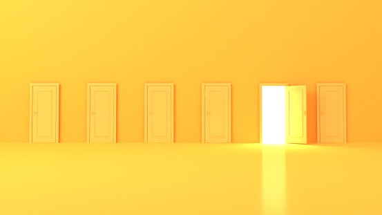 3d illustration of a yellow studio background