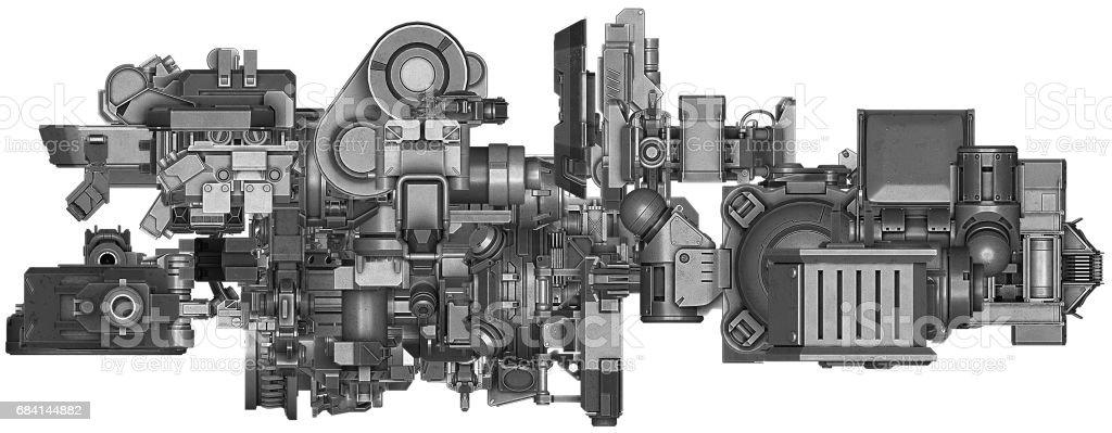 3D illustratie van abstracte industriële materieeltechnologie royalty free stockfoto