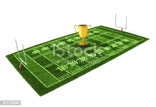 istock 3d illustration of American football field isolated on white background with the golden trophy on the center 875700462