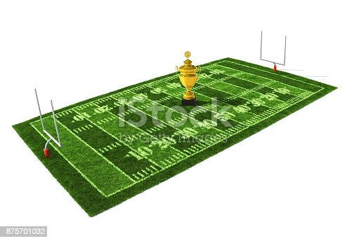 istock 3d illustration of American football field isolated on white background with the golden trophy on the center 875701032