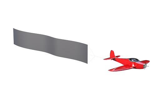 istock 3d Illustration of an airplane with a banner isolated on a white background 1170741063