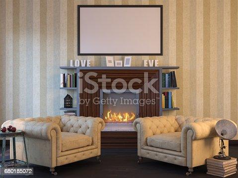 istock 3d illustration of an interior design mockup. 680185072