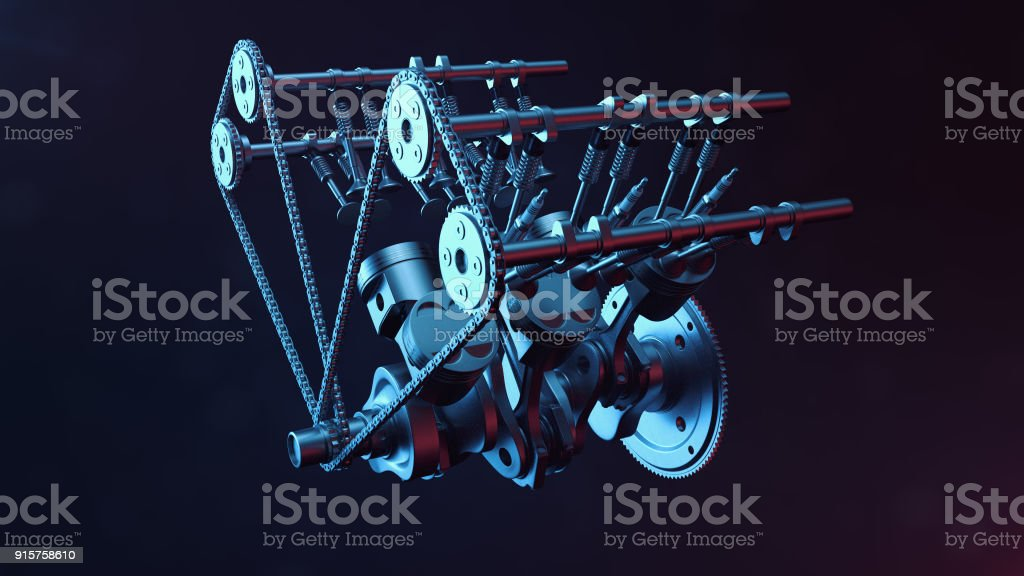 3d Illustration Eines Verbrennungsmotors Motor Teile Kurbelwelle ...
