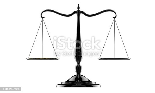 istock 3d illustration of balance scale in black color isolated on a white background 1189567882