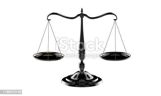 istock 3d illustration of balance scale in black color isolated on a white background 1189570149