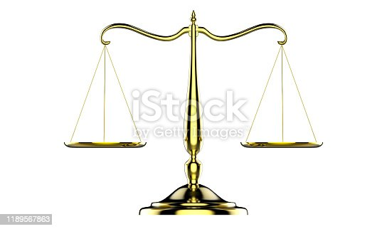 istock 3d illustration of balance scale made of brass isolated on a white background 1189567863