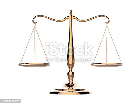 istock 3d illustration of balance scale made of brass isolated on a white background 1189570228