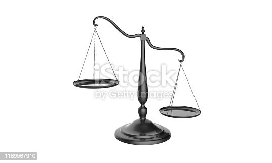 istock 3d illustration of balance scale tipping to one side isolated on a white background 1189567910