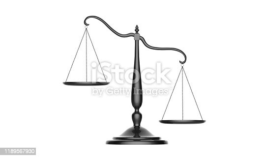 istock 3d illustration of balance scale tipping to one side isolated on a white background 1189567930