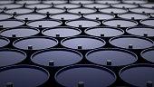 3d illustration of barrels with oil