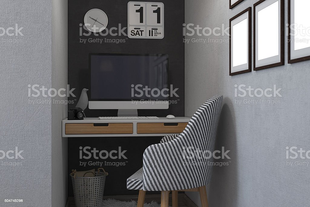3d illustration of bedrooms in a Scandinavian style stock photo