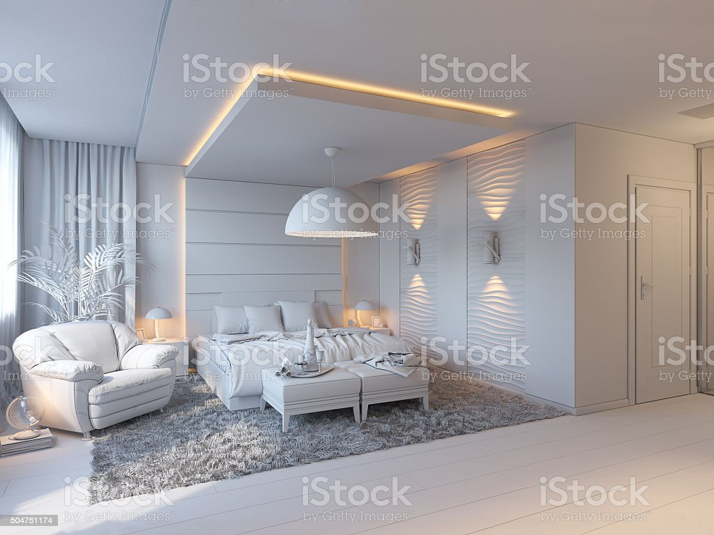 3d illustration of bedrooms in brown color stock photo