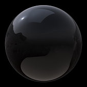 3d illustration of black sphere bubble oil drop close-up. Circle ball simple geometric round shape. Isolated on black