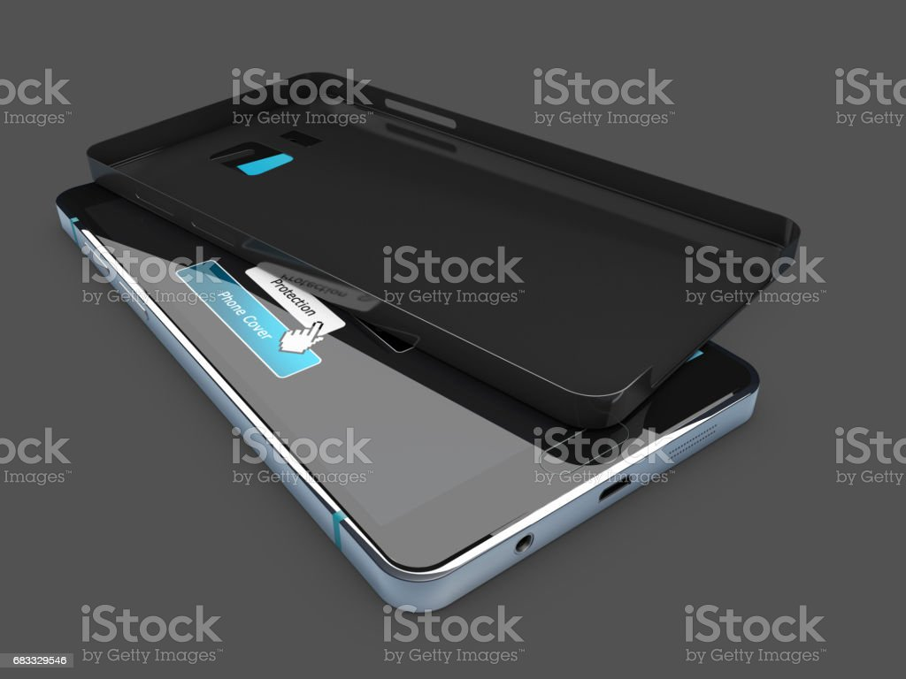 3d illustration of Blank black case on phone, isolated dark gray royalty-free stock photo