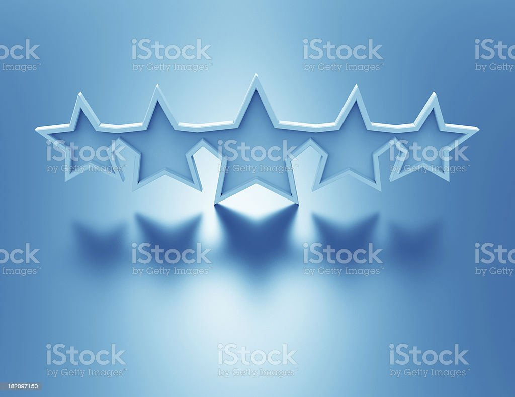 3d illustration of blue stars rating symbol stock photo