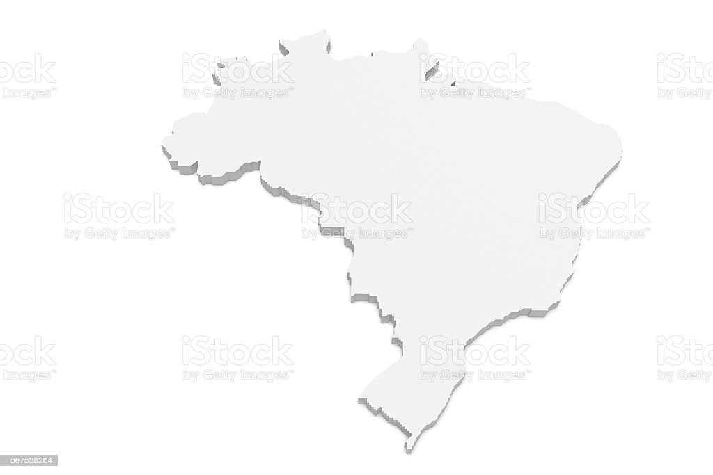 3d Illustration of Brazil Map Isolated On A White Background - fotografia de stock
