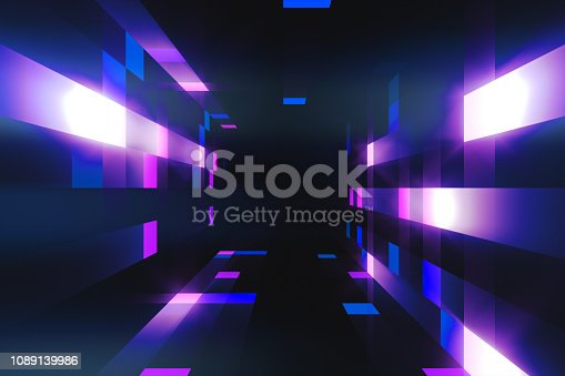 istock 3d illustration of bright blinking tunnel footage for your event, concert, title, presentation, site, DVD, music videos, video art, holiday show, party. 1089139986