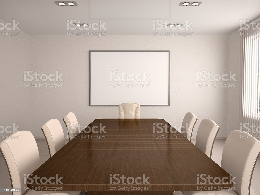 3d illustration of bright conference hall in the center of the board stock photo