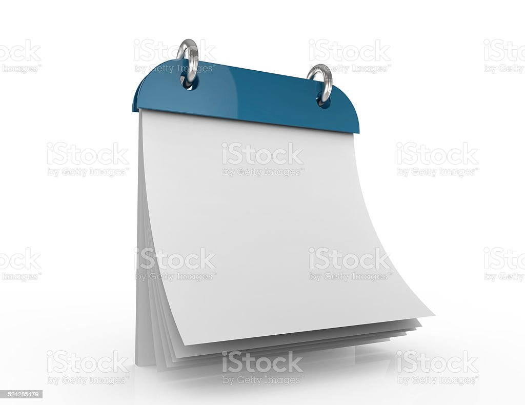 3d illustration of calendar with blank page stock photo