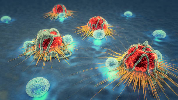 3d illustration of cancer cells and lymphocytes stock photo
