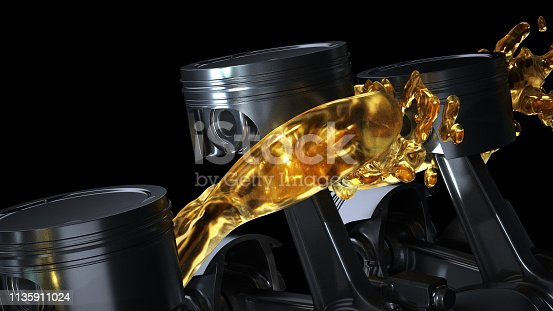 istock 3d illustration of car engine with lubricant oil on repairing. Concept of lubricate motor oil 1135911024