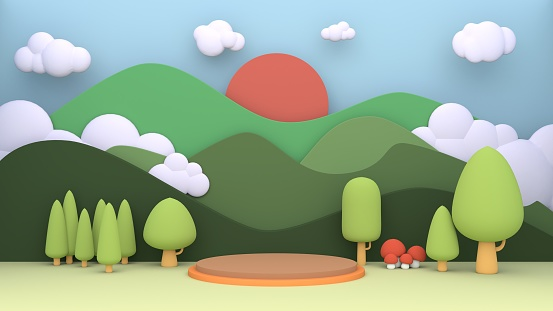 Cartoon 3d green little forest mountain and sun cloudy beautiful sunshine day in paper cut pastel style  stage layout with podium pedestal.