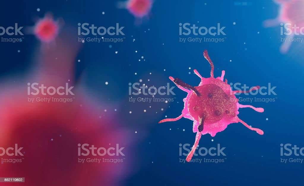 3d illustration of cell under microscope stock photo