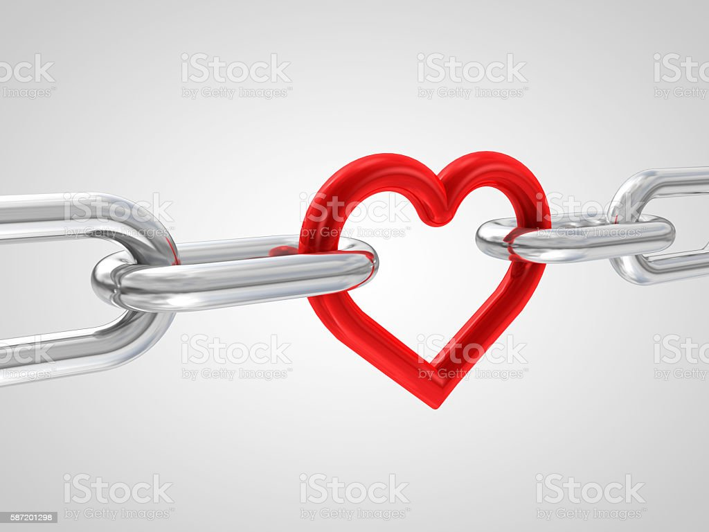 3d illustration of chain with red heart element stock photo