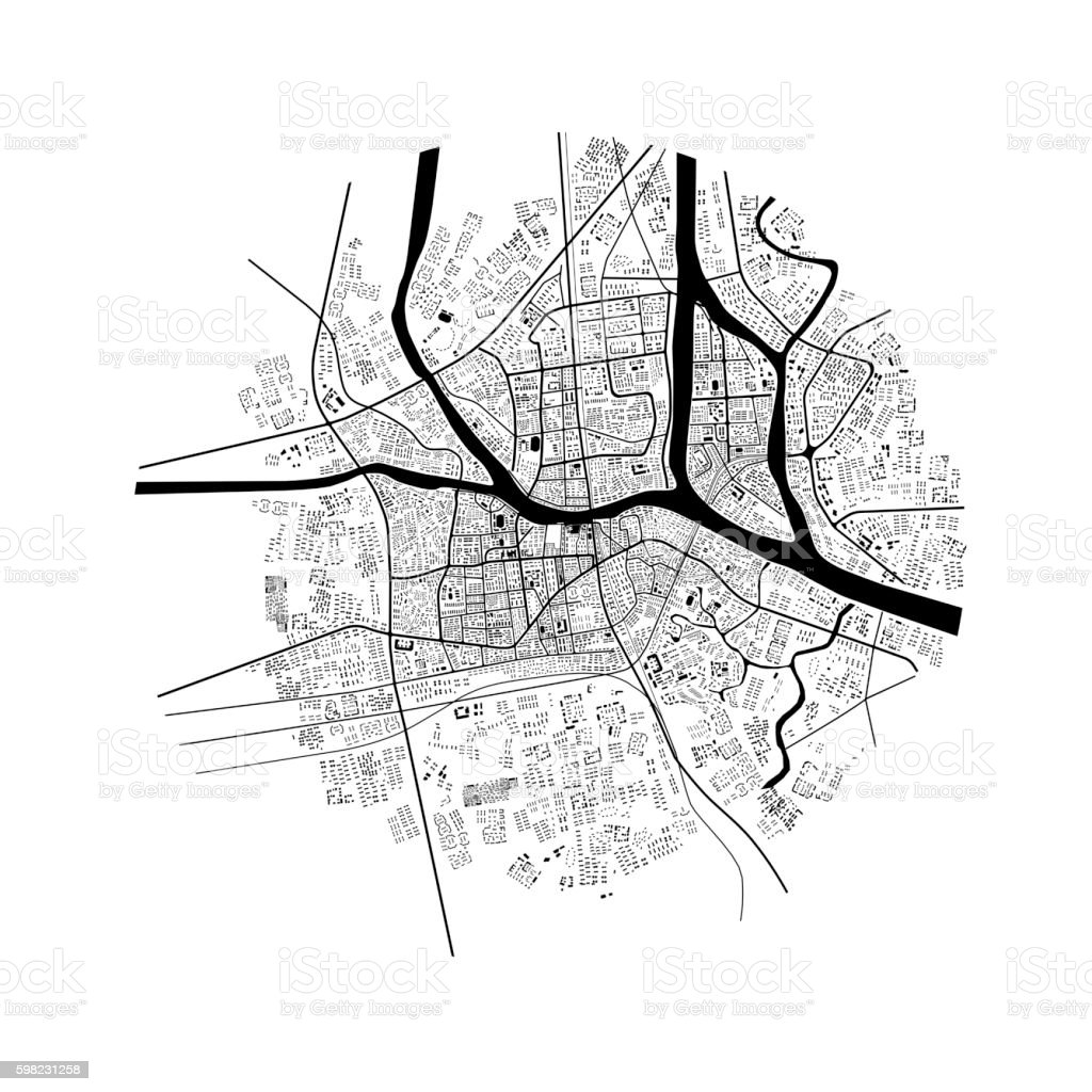 3d illustration of city topographic map foto royalty-free