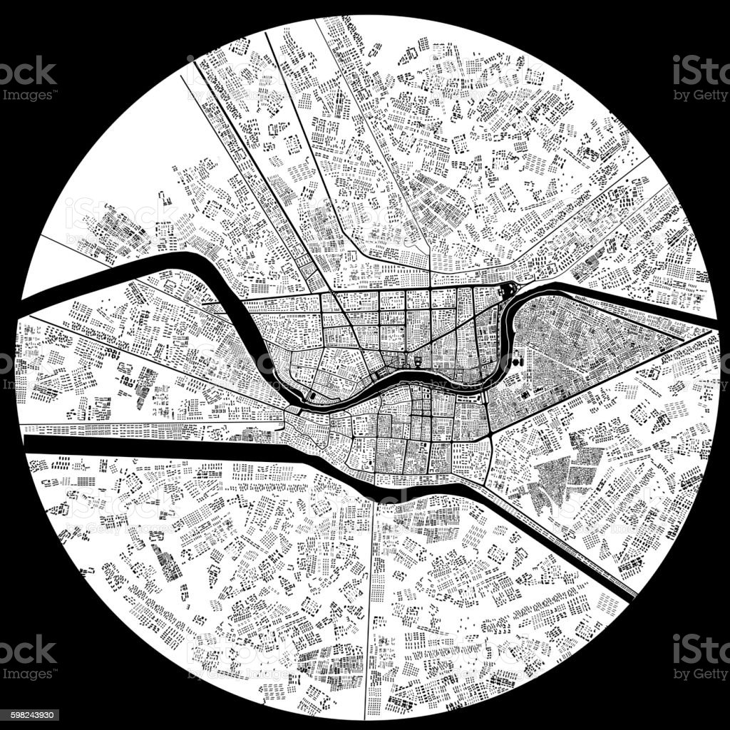 3d illustration of city topographic map stock photo