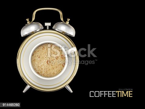 istock 3d Illustration of coffee cup time clock concept design background, isolated black 914465260