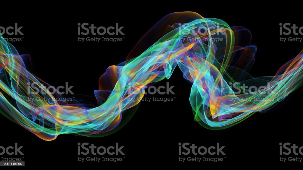 3d illustration of Colorful waves look like smoke stock photo